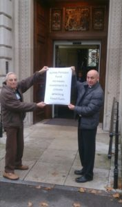 Divestment campaigners Leonard Beighton and Steve McDonald at County Hall